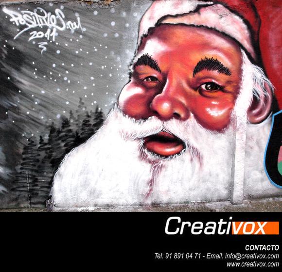 Graffiti realista cara papa noel