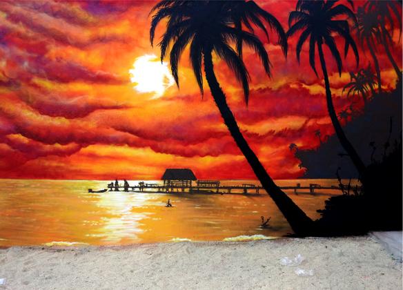 Decoraci n graffiti y paisaje mural de playa creativox for Decoracion y paisaje s a